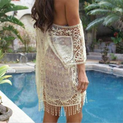 Hollow Crochet Lace Tassels Smock S..