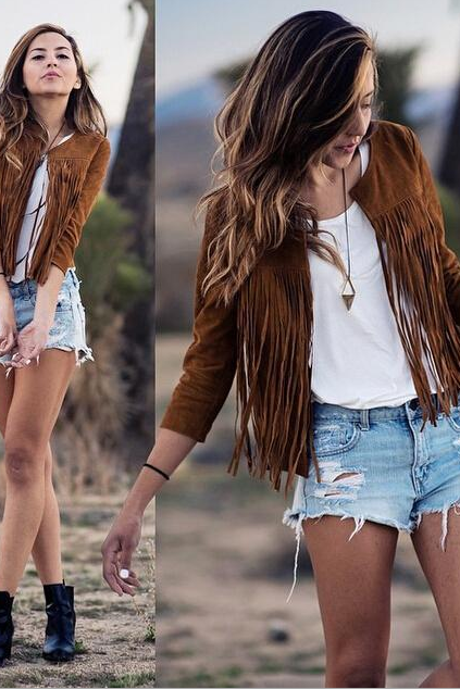 Fashion leather tassel cardigan 3208493