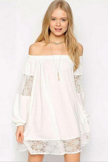 Lace Chiffon Off-The-Shoulder Shift Dress Featuring Long Puffed Sleeves