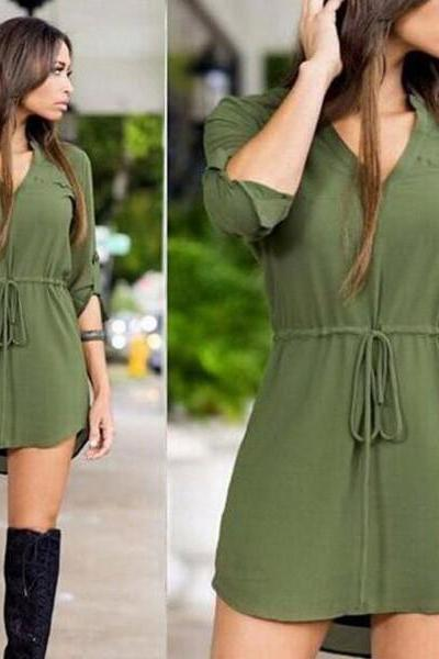 Sexy Strappy V-Neck Shirt Dress OM160621