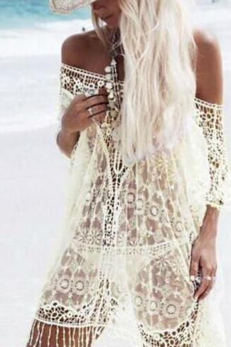 Hollow Crochet Lace Tassels Smock Shirt Top Tee OM160755